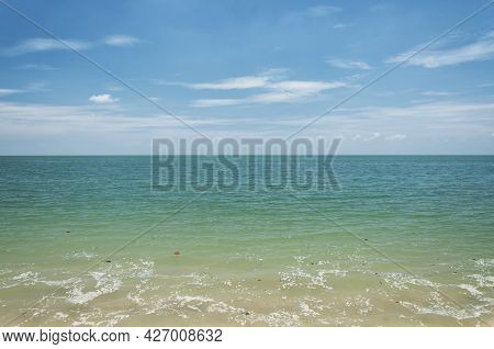 The Coastline And Green Water Within The Penang National Park On The Straits Of Malacca In Malaysia