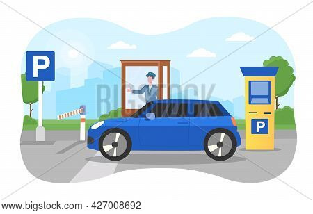 Car Parking Concept. The Car Passes Through A Restrictive Barrier To The Parking Lot. The Employee A