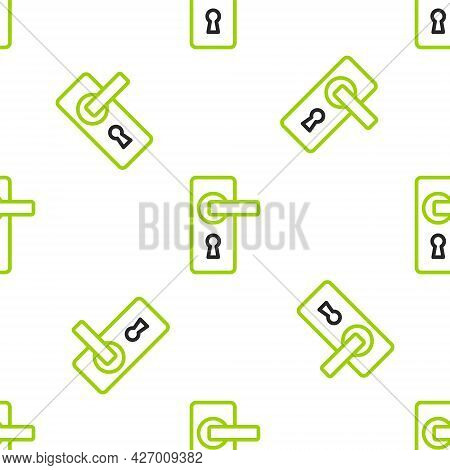 Line Door Handle Icon Isolated Seamless Pattern On White Background. Door Lock Sign. Vector