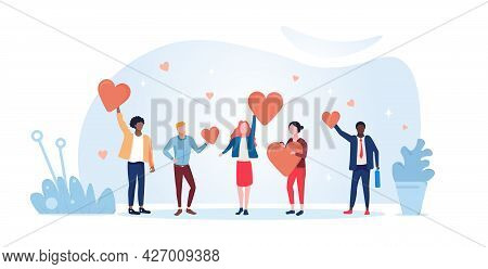 Concept Of Charity And Donation. People Hold Hearts In Their Hands And Give Them To Those In Need. A