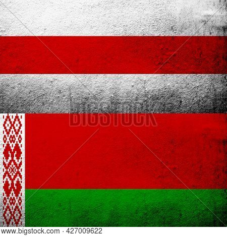 Two Flags Of Belarus. Red And Green Flag Of Belarus With White-red-white Flag Of Belarusian Democrac