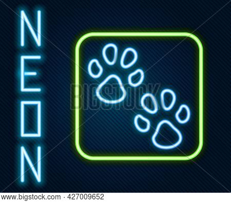 Glowing Neon Line Paw Print Icon Isolated On Black Background. Dog Or Cat Paw Print. Animal Track. C