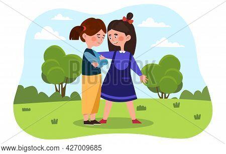 Little Girls Are Friends. Girl In A Dress Comforts A Crying Friend. A Quarrel Between Best Friends.