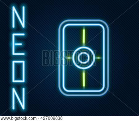 Glowing Neon Line Greek Shield With Greek Ornament Icon Isolated On Black Background. Colorful Outli