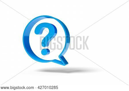Speech Balloon With A Question Mark Isolated On White Background. 3d Illustration.