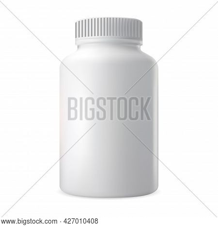 Pill Bottle. Vitamin Supplement White Container Mockup. Plastic Capsule Package Pharmacy Template. 3