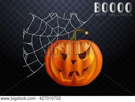 Halloween Pumpkins In Vector For Decorations In Dark Background. Vector Illustration. Web Of Hallowe