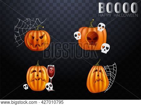 Halloween Pumpkins In Vector With Set Of Different Faces For Icons And Decorations In Dark Backgroun