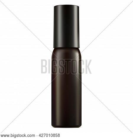Aerosol Spray Bottle. Cylinder Deodorant Container Mock Up. Steel Hairspray Packaging. Realistic Ref
