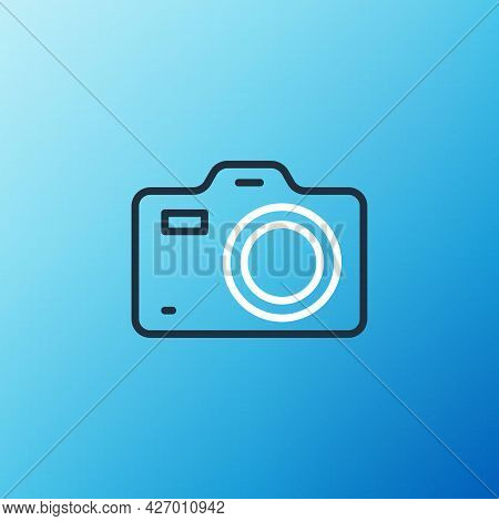 Line Photo Camera Icon Isolated On Blue Background. Foto Camera. Digital Photography. Colorful Outli