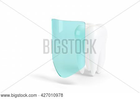 Molar Tooth With Blue Arrow Surrounding It Isolated On White Background. Dental Health Concept. 3d I
