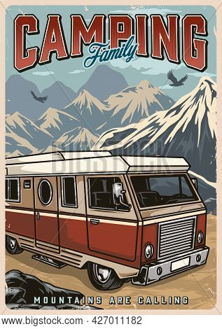 Summer Camping Colorful Vintage Poster With Motorhome And Flying Birds On Mountains Landscape Vector