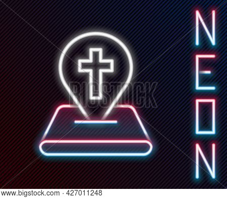Glowing Neon Line Map Pin Church Building Icon Isolated On Black Background. Christian Church. Relig
