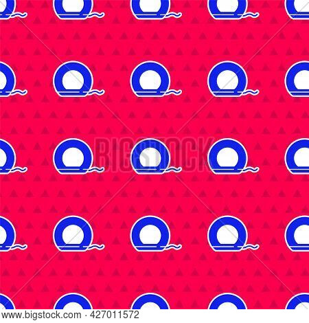 Blue Dental Floss Icon Isolated Seamless Pattern On Red Background. Vector