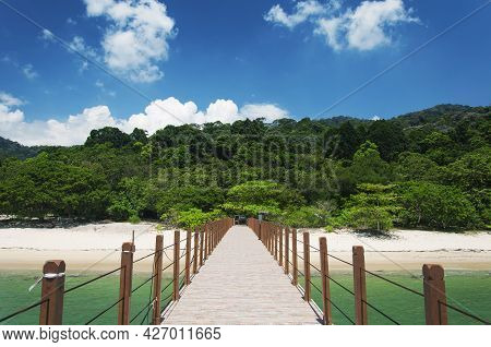 The Pier At Kerachut Beach Within The Penang National Park In George Town Malaysia.