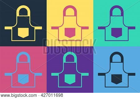 Pop Art Kitchen Apron Icon Isolated On Color Background. Chef Uniform For Cooking. Vector