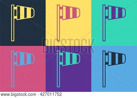Pop Art Cone Meteorology Windsock Wind Vane Icon Isolated On Color Background. Windsock Indicate The