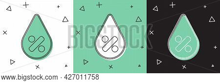 Set Water Drop Percentage Icon Isolated On White And Green, Black Background. Humidity Analysis. Vec