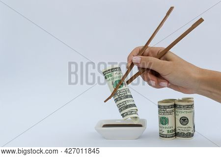 Sushi Made Of American Dollars. Rolled Dollars.