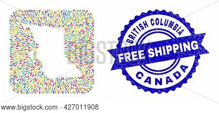 Vector Collage British Columbia Map Of Moving Arrows And Rubber Free Shipping Seal Stamp. Collage Br