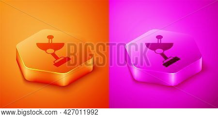 Isometric Radar Icon Isolated On Orange And Pink Background. Search System. Satellite Sign. Hexagon