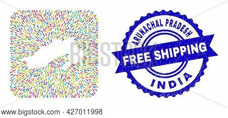 Vector Collage Arunachal Pradesh State Map Of Emigration Arrows And Rubber Free Shipping Badge. Mosa