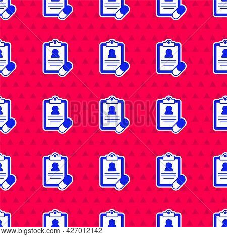 Blue Medical Prescription Icon Isolated Seamless Pattern On Red Background. Rx Form. Recipe Medical.