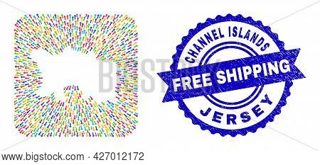 Vector Mosaic Jersey Island Map Of Migration Arrows And Grunge Free Shipping Badge. Collage Jersey I