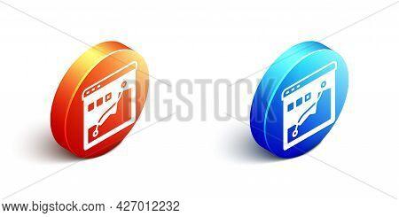 Isometric Histogram Graph Photography Icon Isolated On White Background. Orange And Blue Circle Butt