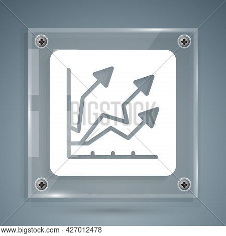 White Financial Growth Increase Icon Isolated On Grey Background. Increasing Revenue. Square Glass P