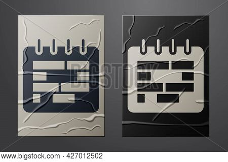 White Calendar Icon Isolated On Crumpled Paper Background. Event Reminder Symbol. Paper Art Style. V