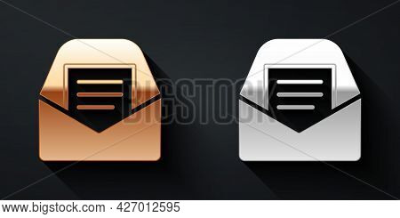 Gold And Silver Mail And E-mail Icon Isolated On Black Background. Envelope Symbol E-mail. Email Mes