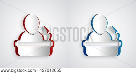 Paper Cut Speaker Icon Isolated On Grey Background. Orator Speaking From Tribune. Public Speech. Per