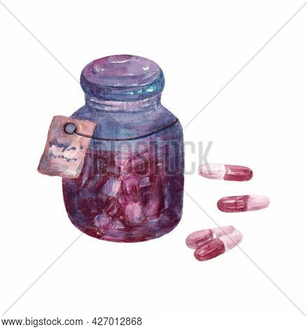 Tablets Or Pillsin Jar. Pills In A Jar. Medical Pill Or Tablets Isolated On A White Background. The