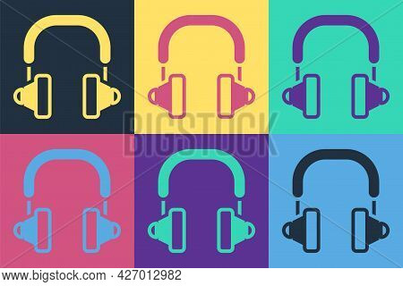 Pop Art Headphones Icon Isolated On Color Background. Earphones. Concept For Listening To Music, Ser