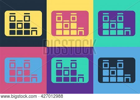 Pop Art Music Equalizer Icon Isolated On Color Background. Sound Wave. Audio Digital Equalizer Techn