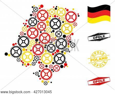 Repair Service Opole Voivodeship Map Collage And Stamps. Vector Collage Is Formed Of Cog Items In Va