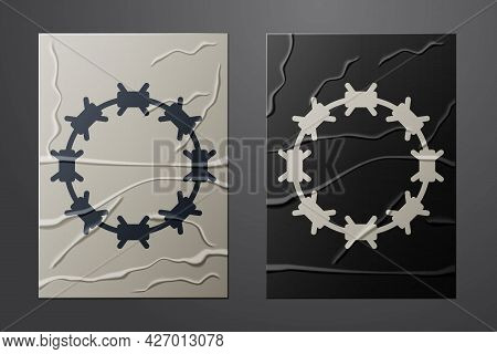 White Crown Of Thorns Of Jesus Christ Icon Isolated On Crumpled Paper Background. Religion, Bible, C