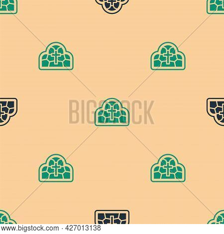 Green And Black Stained Glass Ancient Cathedral, Temple, Church Icon Isolated Seamless Pattern On Be