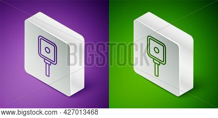 Isometric Line Frying Pan Icon Isolated On Purple And Green Background. Fry Or Roast Food Symbol. Si