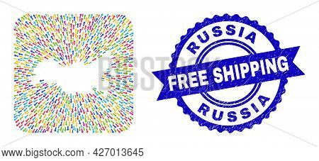 Vector Collage Russia Map Of Emigration Arrows And Scratched Free Shipping Seal Stamp. Collage Russi