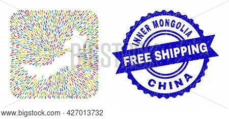 Vector Collage Inner Mongolia Map Of Straight Arrows And Scratched Free Shipping Badge. Collage Inne