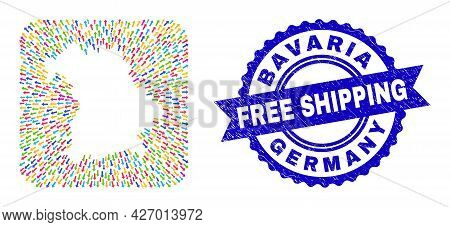 Vector Collage Bavaria Land Map Of Arrows And Scratched Free Shipping Badge. Mosaic Bavaria Land Map