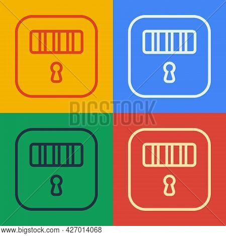 Pop Art Line Prison Cell Door With Grill Window Icon Isolated On Color Background. Vector