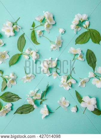 Pattern Of Bud Jasmine And Leaves Scattered On A Green Background, Overhead View. Flat Lay. Pattern
