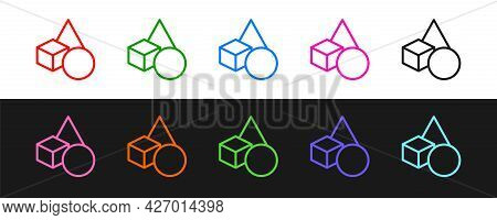 Set Line Basic Geometric Shapes Icon Isolated On Black And White Background. Vector