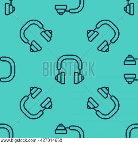 Black Line Headphones Icon Isolated Seamless Pattern On Green Background. Earphones. Concept For Lis