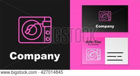 Pink Line Vinyl Player With A Vinyl Disk Icon Isolated On Black Background. Logo Design Template Ele
