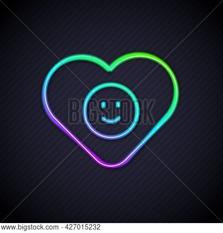 Glowing Neon Line Good Relationship Icon Isolated On Black Background. Romantic Relationship Or Plea