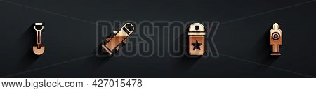 Set Sapper Shovel, Rocket, Chevron And Human Target Sport For Shooting Icon With Long Shadow. Vector